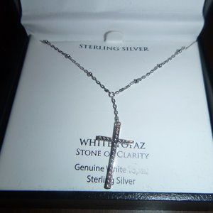 Jewelry - Sterling Silver White Topaz Chain & Cross